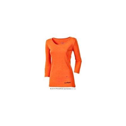 POKHARA PRINT dámské triko s 3/4 rukávem (Barva terakota, Velikost XS)