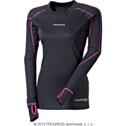 TC TDRZ dámské termo triko s dlouhým rukávem (Barva bílá/černá oranžové prošití, Velikost XL)