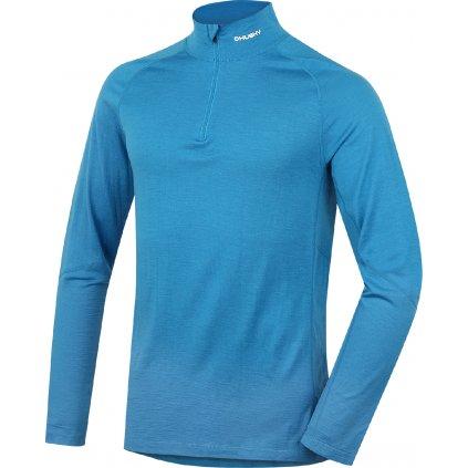 Pánské merino dlouhé triko se zipem HUSKY modrá  + Sleva 5% - zadej v košíku kód: SLEVA5