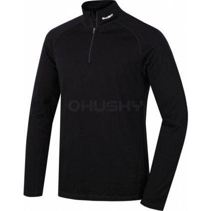 Pánské merino dlouhé triko se zipem HUSKY černá  + Sleva 5% - zadej v košíku kód: SLEVA5