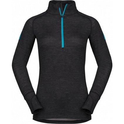 Dámské triko s dlouhým rukávem ZAJO Nora Merino W Zip Top LS černá  + Sleva 5% - zadej v košíku kód: SLEVA5