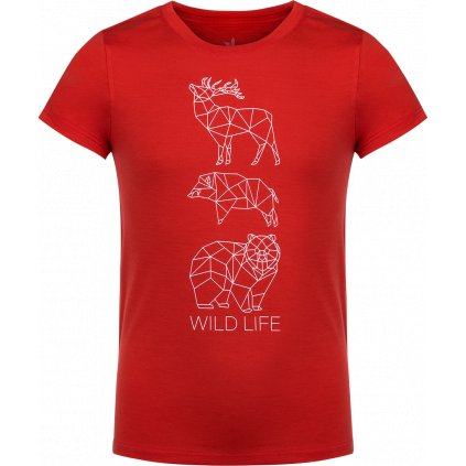 Dětské tričko ZAJO Elf Kids Merino T-shirt SS rudá
