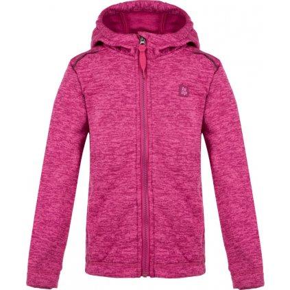 Dětský svetr LOAP Gitan s kapucí růžová