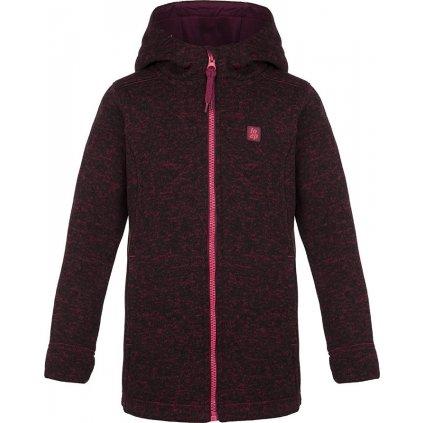 Dětský svetr LOAP Galena s kapucí fialová