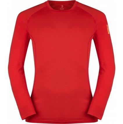 Pánské termo triko ZAJO Bjorn Merino Tshirt LS rudá