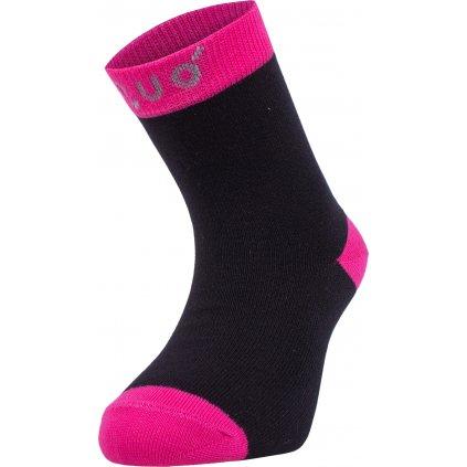 Bambusové ponožky UNUO černé s fuchsiovou (Bamboo socks)