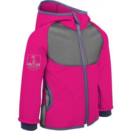 Dětská softshellová bunda s fleecem UNUO New Fuchsiová + reflexní obrázek Evžen (NEW Unuo softshell jacket)