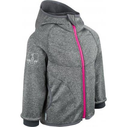 Dětská softshellová bunda s fleecem UNUO New melír šedý, zip růžový + reflexní obrázek Evžen (Baby softshell jacket)
