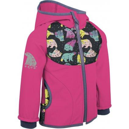Dětská softshellová bunda s fleecem UNUO New souhvězdí medvěda fuchsiová ( NEW Unuo softshell jacket printed)