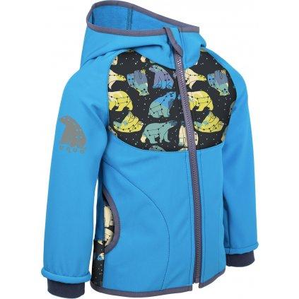 Dětská softshellová bunda s fleecem UNUO New souhvězdí medvěda tyrkysová ( NEW Unuo softshell jacket printed)