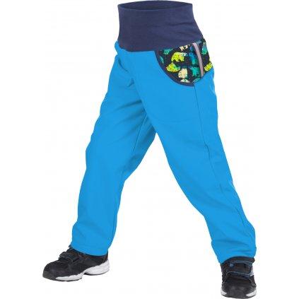 Dětské softshellové kalhoty UNUO s fleecem Souhvězdí medvěda Tyrkysové (Softshell kids trousers)