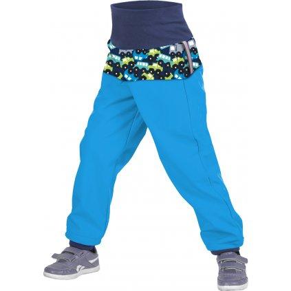 Batolecí softshellové kalhoty UNUO  s fleecem Autíčka tyrkysové (Softshell toodler trousers)