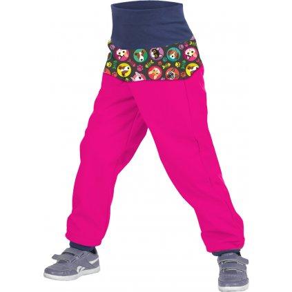 Batolecí softshellové kalhoty UNUO s fleecem Kočka/pes fuchsiové (Softshell toodler trousers)