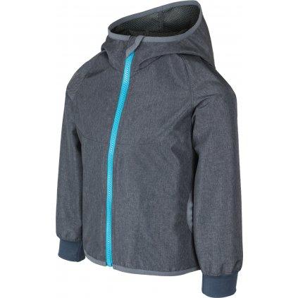 Dětská softshellová bunda UNUO bez zateplení Žíhaná antracitová (NEW Unuo softshell jacket)
