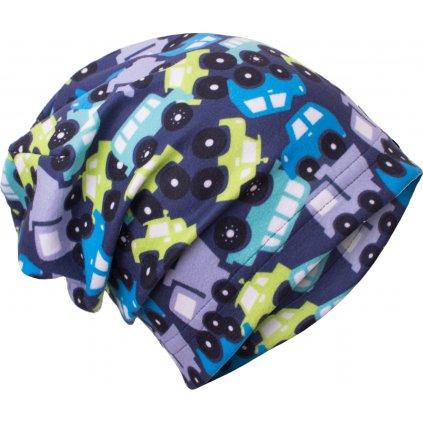 Dětská fleecová čepice UNUO Autíčka (Unuo Fleece cap printed)