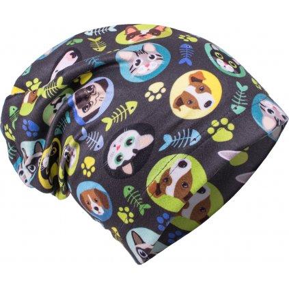 Dětská fleecová čepice UNUO Kočka a pes kluk