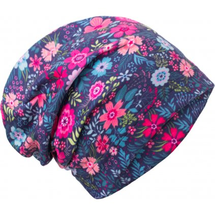Dětská fleecová čepice UNUO Květinky ( Unuo Fleece cap printed)