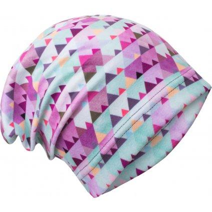 Dětská fleecová čepice UNUO Mini trojúhelníčky, holčičí ( Unuo Fleece cap printed)