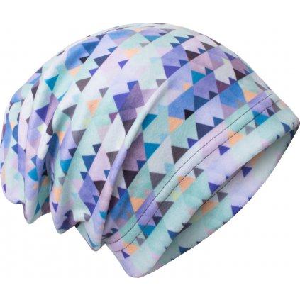 Dětská fleecová čepice UNUO Mini trojúhelníčky, klučičí ( Unuo Fleece cap printed)