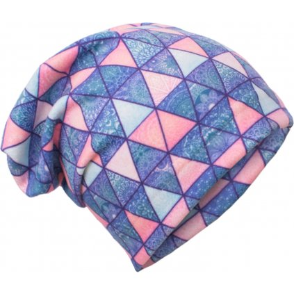 Dětská fleecová čepice UNUO Triangl mandaly ( Unuo Fleece cap printed)