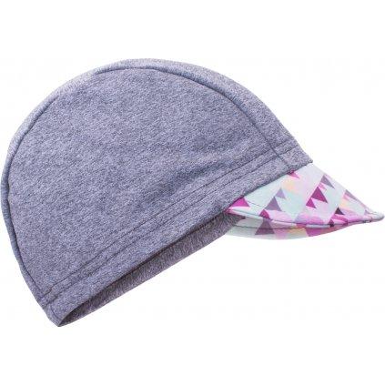 Dětská funkční čepice s kšiltem UNUO UV 50+ Mini trojúhelníčky holčičí, šedá