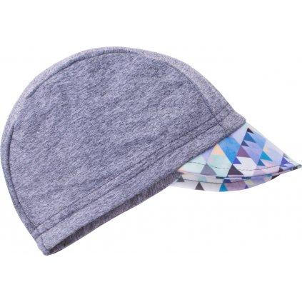 Dětská funkční čepice s kšiltem UNUO UV 50+ Mini trojúhelníčky klučičí, šedá