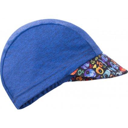 Dětská funkční čepice s kšiltem UNUO UV 50+ Rybky a rybičky, tm. modrá