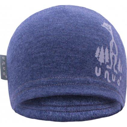 Dětská teplákovinová čepice UNUO Jeans modrý melír + REFLEXNÍ EVŽEN