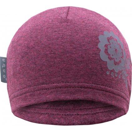 Dětská teplákovinová čepice UNUO Růžový melír + REFLEXNÍ KVĚTINKA