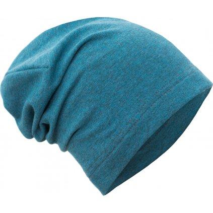 Dětská teplákovinová čepice UNUO spadená,  Aqua melír