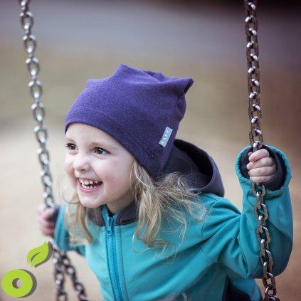 Dětská teplákovinová čepice UNUO spadená, Jeans melír