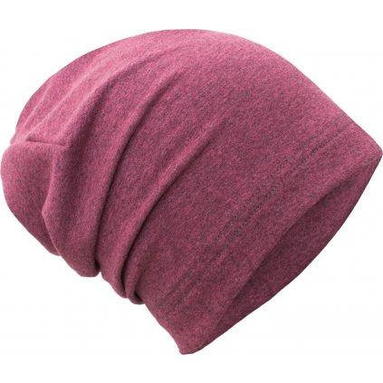 Dětská teplákovinová čepice UNUO spadená, Růžový melír