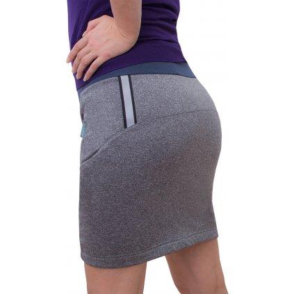 Dámská softshellová sukně UNUO s fleecem, šedý melír (Softshell women´s skirt)