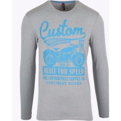 Pánské tričko SAM 73  s dlouhým rukávem  šedá světlá