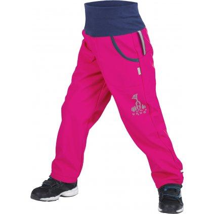 Dětské softshellové kalhoty UNUO s fleecem Fuchsiové + reflexní obrázek Evžen (Softshell kids trousers)