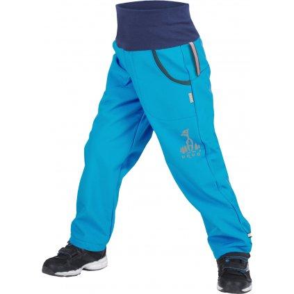 Dětské softshellové kalhoty UNUO s fleecem Tyrkysové + reflexní obrázek Evžen (Softshell kids trousers)