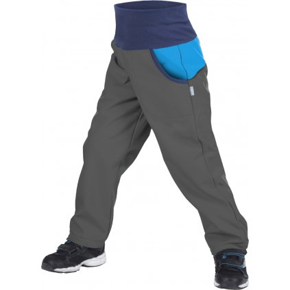 Dětské softshellové kalhoty UNUO s fleecem DUO Antracitové s Tyrkysovou (Softshell kids DUO trousers)