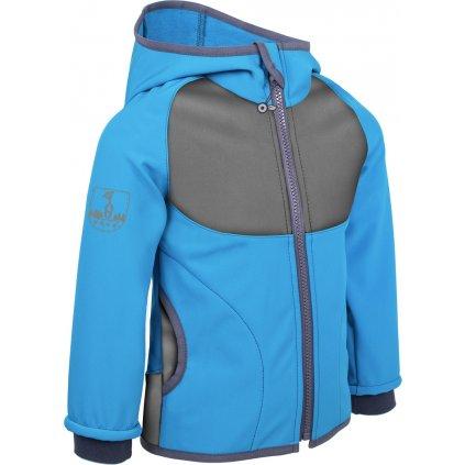 Dětská softshellová bunda s fleecem UNUO New tyrkysová + reflexní obrázek Evžen (NEW Unuo softshell jacket)