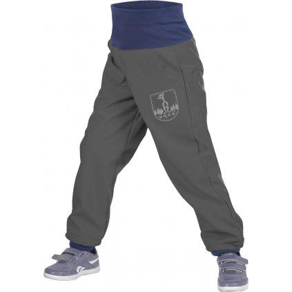 Batolecí softshellové kalhoty UNUO  s fleecem Antracitové + reflexní obrázek Evžen (Softshell toodler trousers)