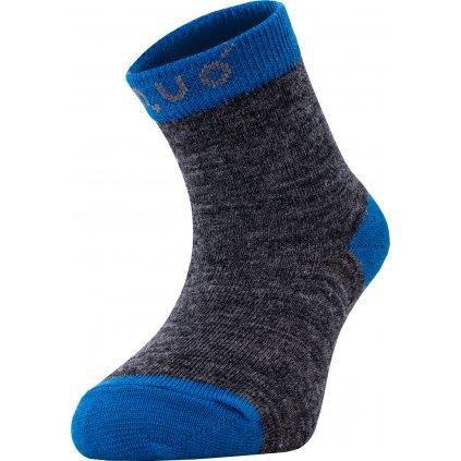 Merino ponožky UNUO  šedý melír s tyrkysovou (Merino ankle socks)
