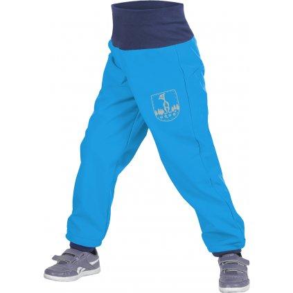 Batolecí softshellové kalhoty UNUO s fleecem Tyrkysové + reflexní obrázek Evžen (Softshell toodler trousers)