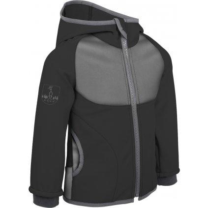 Softshellová bunda s fleecem UNUO  DUO Černá + reflexní obrázek Evžen