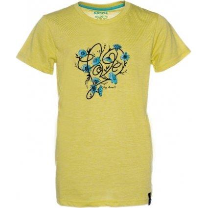 Dívčí triko s krátkým rukávem SAM 73 žluto - zelená