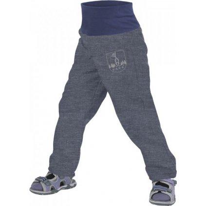Batolecí softshellové kalhoty bez zateplení UNUO Žíhané antracitové + reflexní obrázek Evžen