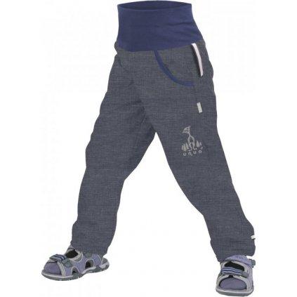 Softshellové kalhoty bez zateplení UNUO Žíhané antracitové + reflexní obrázek Evžen (Softshell kids trousers)