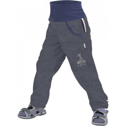 Softshellové kalhoty bez zateplení UNUO Žíhané antracitové + reflexní obrázek Evžen