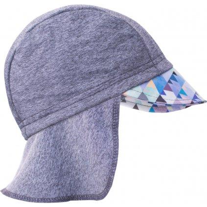 Funkční čepice UNUO s kšiltem a plachetkou UV 50+ Mini trojúhelníčky klučičí, šedá
