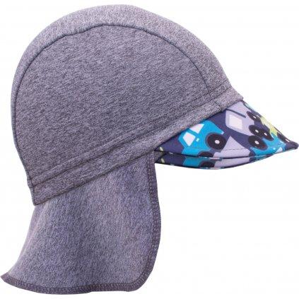 Funkční čepice UNUO s kšiltem a plachetkou UV 50+Autíčka, šedá