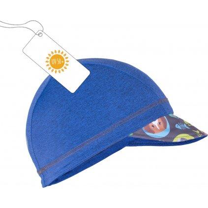 Funkční čepice UNUO s kšiltem a plachetkou UV 50+ Rybky a rybičky, tm. modrá