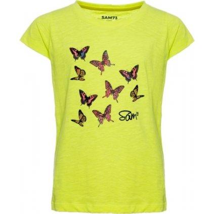 Dívčí triko s krátkým rukávem SAM 73 žlutá neon